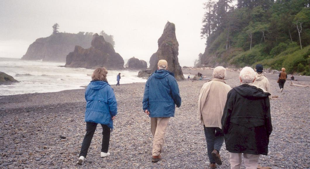 Group of mature students walking the beaches of La Push