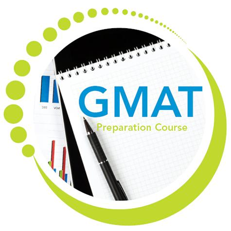 "A logo featuring the text ""GMAT Preparation Course"" superimposed on a notebook"