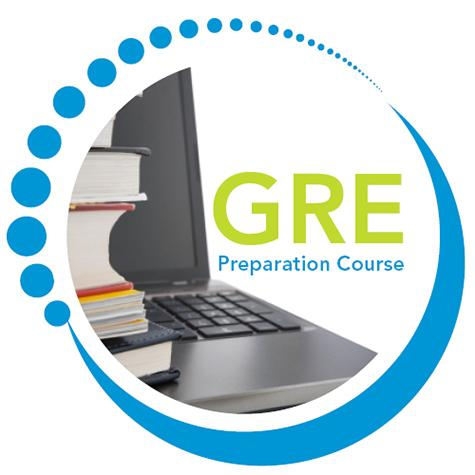 "A logo featuring the text ""GRE Preparation Course"" next to an open laptop and textbooks"