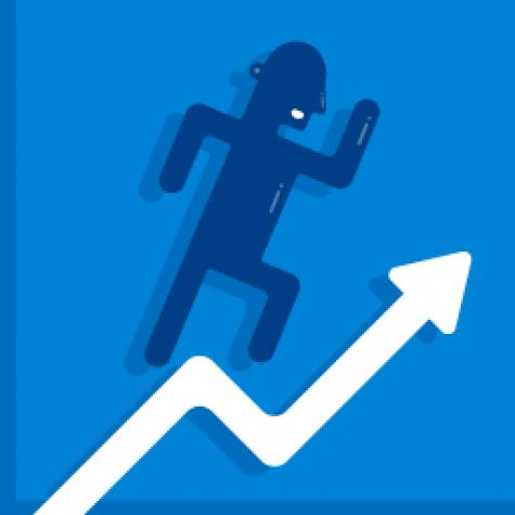 Graphic representation of man running up a report arrow to show positive company growth.