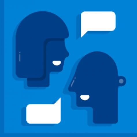 Graphic representations of two heads talking to each other