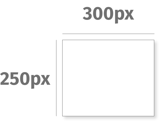 Visual depiction of Digital Ad size 300px by 250px