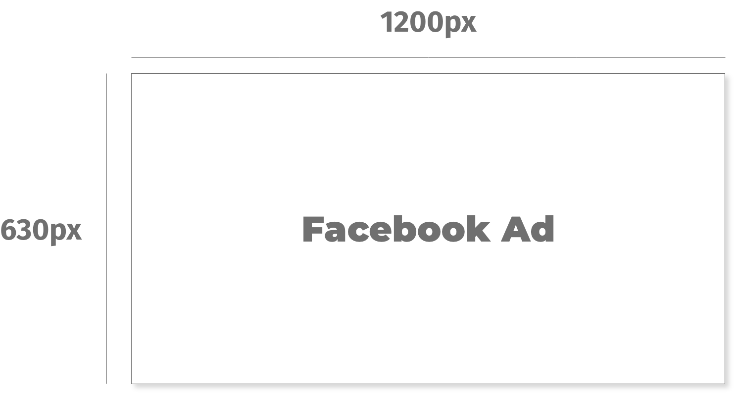 line drawing showing dimensions of Facebook Ad