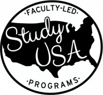 Study USA logo has Faculty-led Study USA Programs in a handwriting font, on top of a solid black silhouetted graphic of the United States.