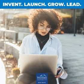 "A woman works on a laptop outside on a sunny day, with a bar of text at the top reading ""Invent. Launch. Grow. Lead."""