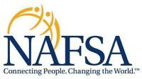 NAFSA logo which has a golden globe with two people on it and the words NAFSA - Connecting people. Changing the World.